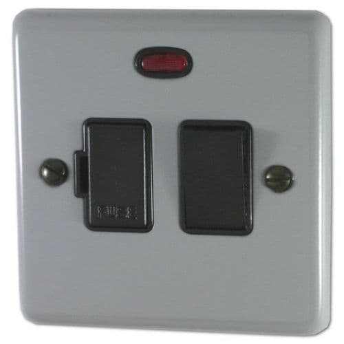 G&H CLG27B Standard Plate Light Grey 1 Gang Fused Spur 13A Switched & Neon